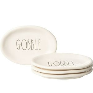 "Rae Dunn GOBBLE Thanksgiving 8"" Appetizer Plates"